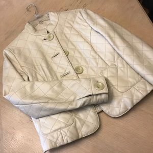 Wilson's Mandarin Collar Cream Leather Jacket